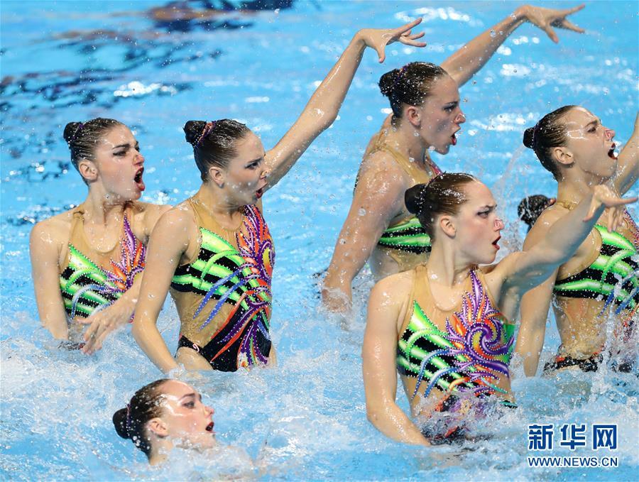 乌克兰获花样游泳女子集体托举项目金牌