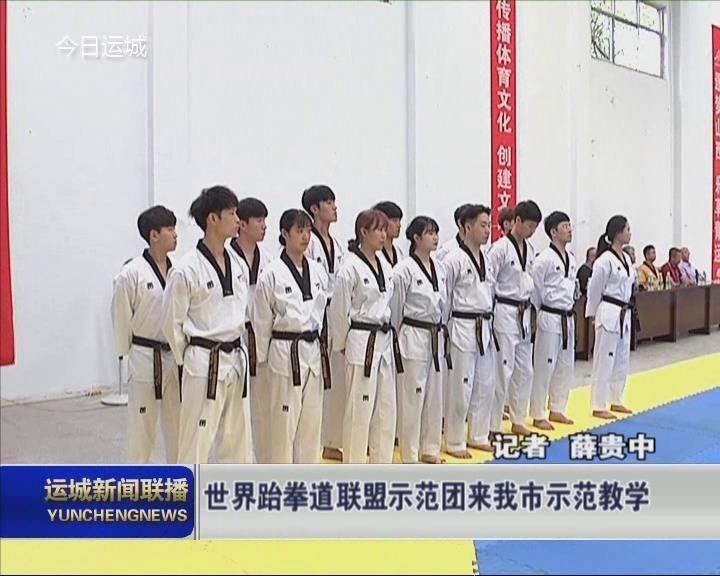 世界跆拳道联盟示范团来我市示范教学