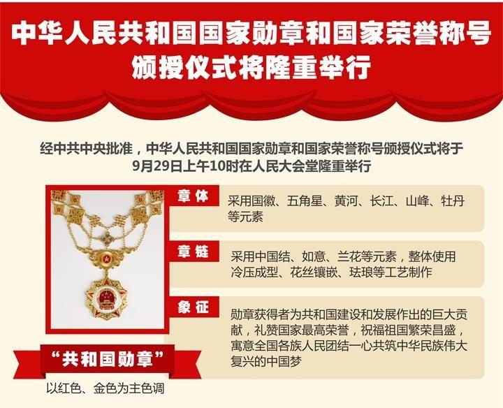 中华人民共和国国家勋章和国家荣誉称号颁授仪式将隆重举行